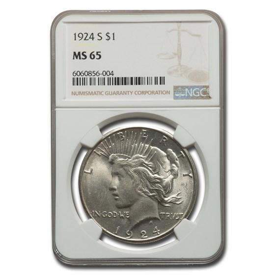 1924-S Peace Dollar MS-65 NGC