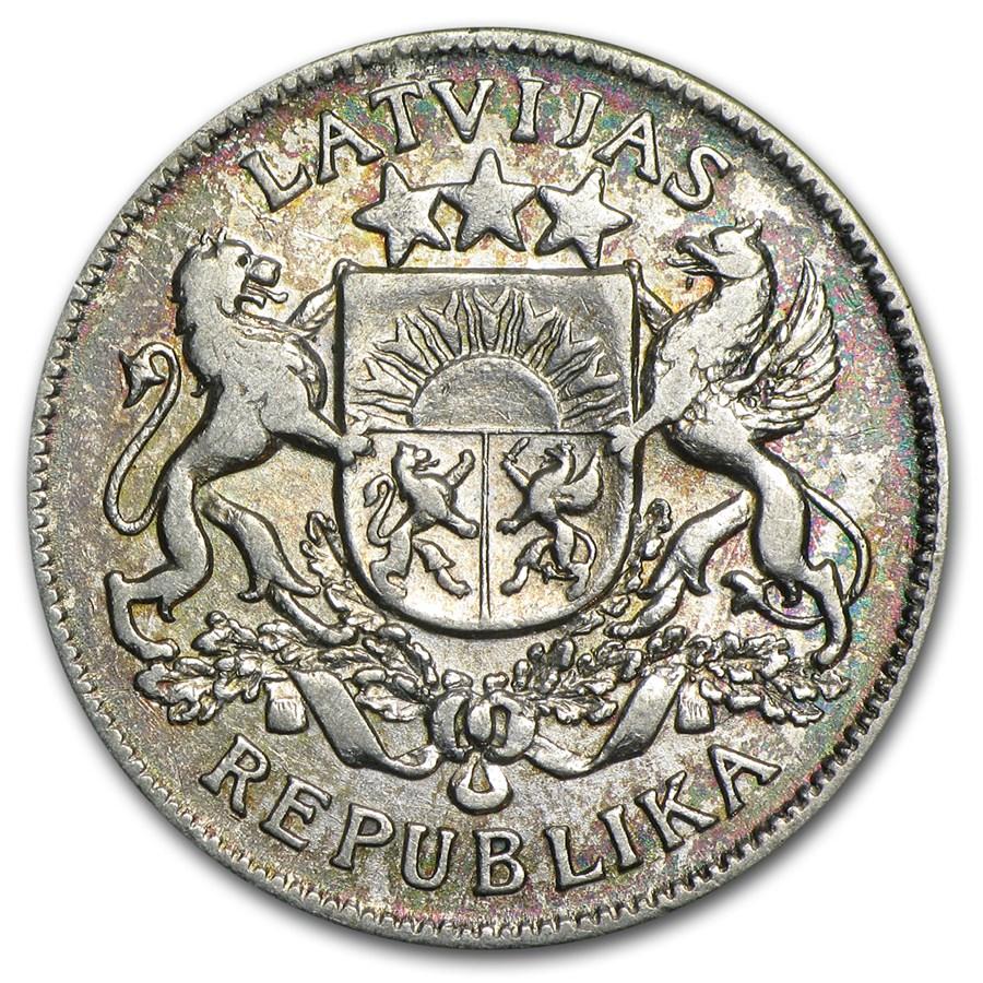 (1925-1926) Latvia Silver 2 Lati XF