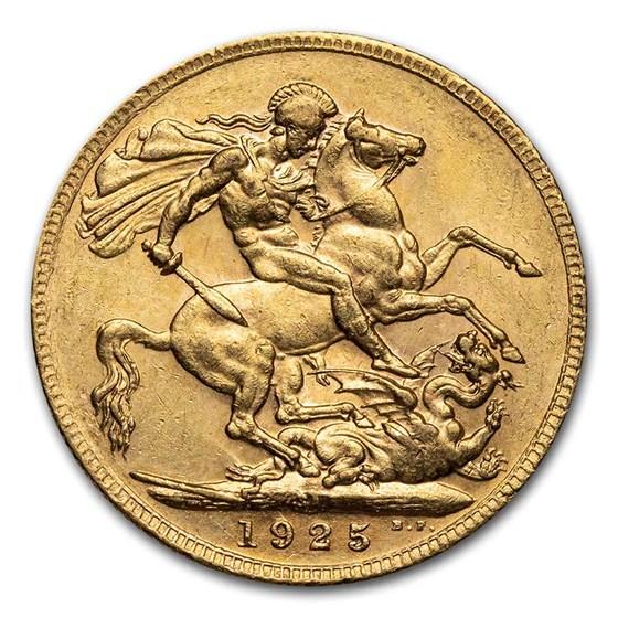 1925-1932-SA South Africa Gold Sovereign George V AU