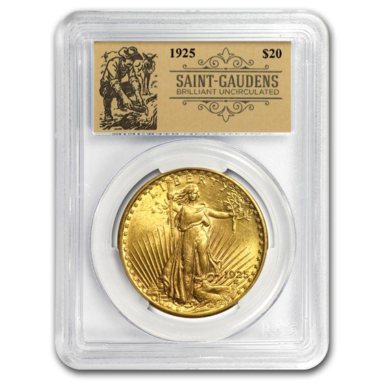 1925 $20 Saint-Gaudens Double Eagle BU PCGS (Prospector Label)