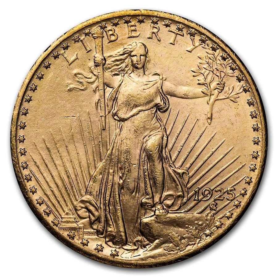 1925 $20 Saint-Gaudens Gold Double Eagle AU