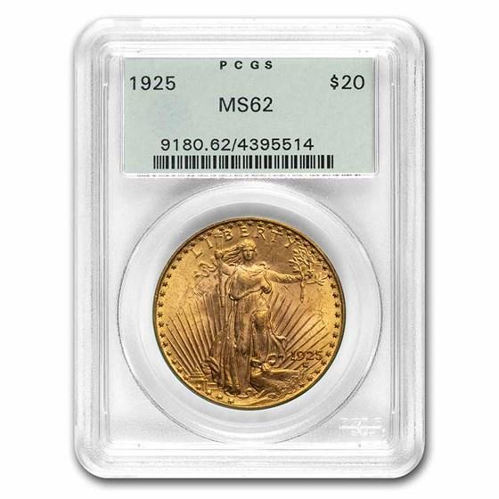 1925 $20 Saint-Gaudens Gold Double Eagle MS-62 PCGS (OGH)
