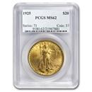 1925 $20 Saint-Gaudens Gold Double Eagle MS-62 PCGS
