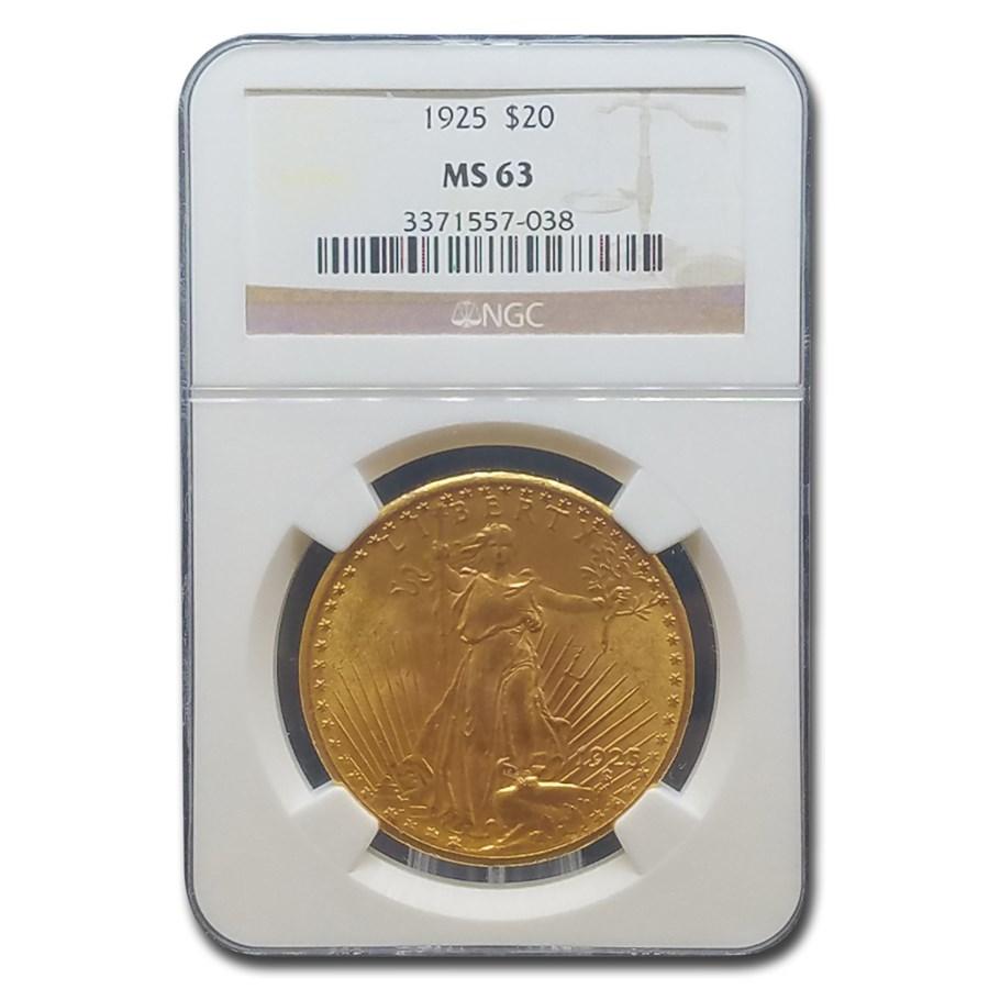 1925 $20 Saint-Gaudens Gold Double Eagle MS-63 NGC