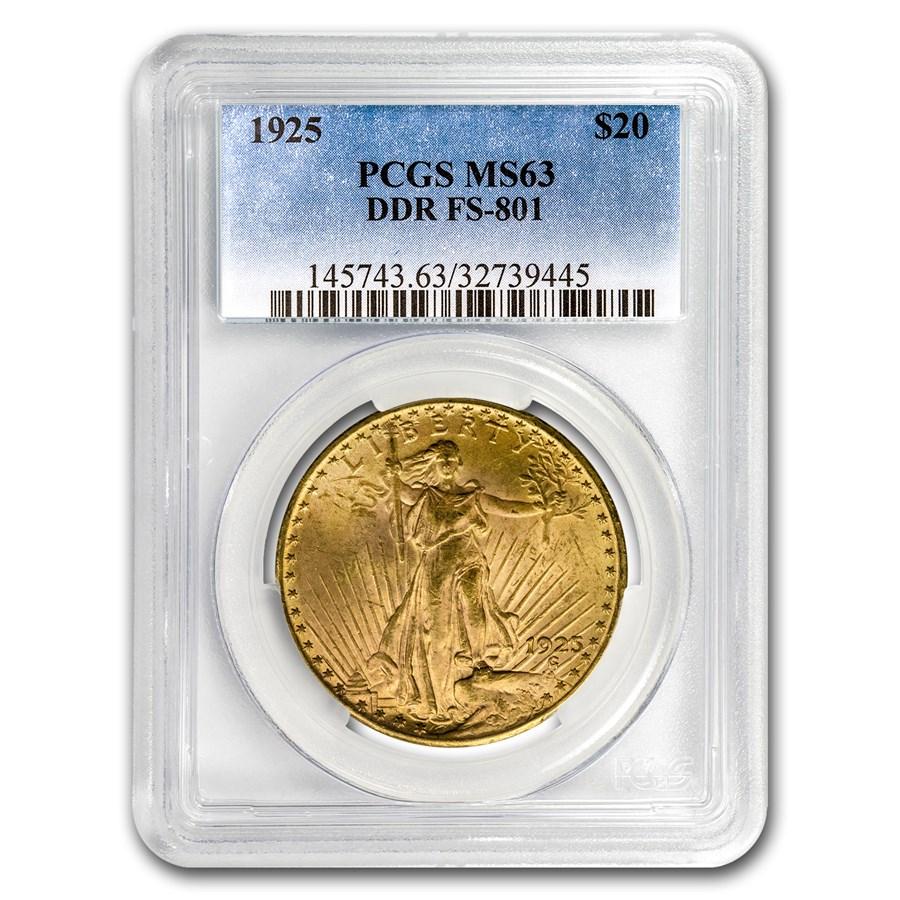 1925 $20 Saint-Gaudens Gold Double Eagle MS-63 PCGS (DDR FS-801)