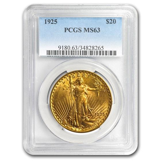 1925 $20 Saint-Gaudens Gold Double Eagle MS-63 PCGS