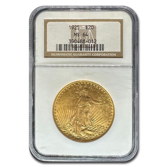 1925 $20 Saint-Gaudens Gold Double Eagle MS-64 NGC