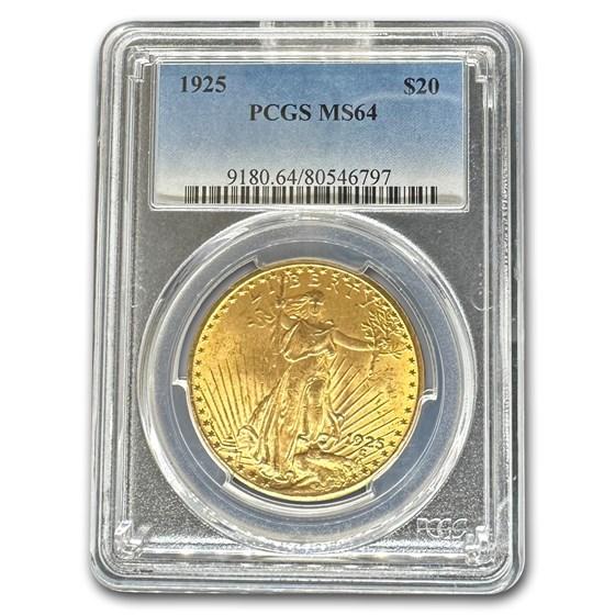 1925 $20 Saint-Gaudens Gold Double Eagle MS-64 PCGS