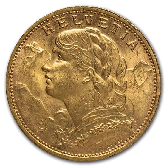 1925-B Swiss Gold 20 Francs Helvetia BU