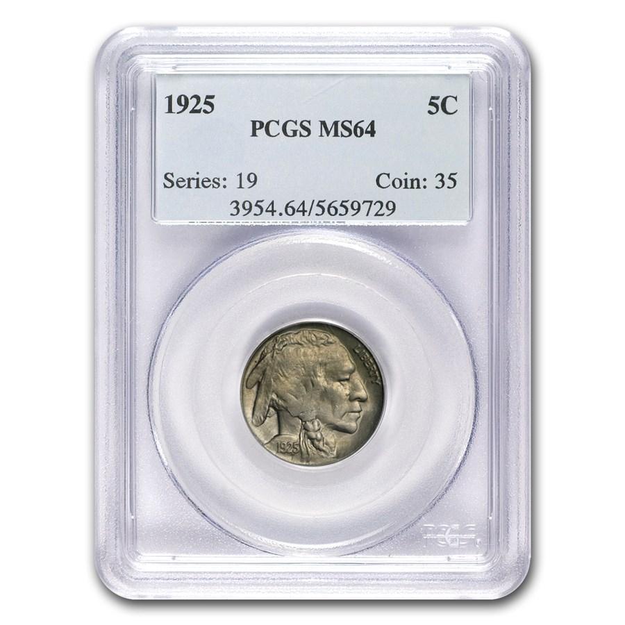 1925 Buffalo Nickel MS-64 PCGS