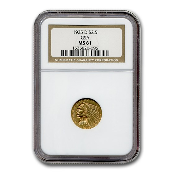 1925-D $2.50 Indian Gold Quarter Eagle MS-61 NGC (GSA)