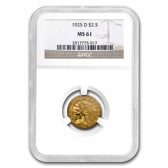 1925-D $2.50 Indian Gold Quarter Eagle MS-61 NGC