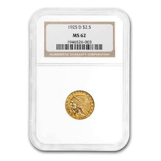 1925-D $2.50 Indian Gold Quarter Eagle MS-62 NGC