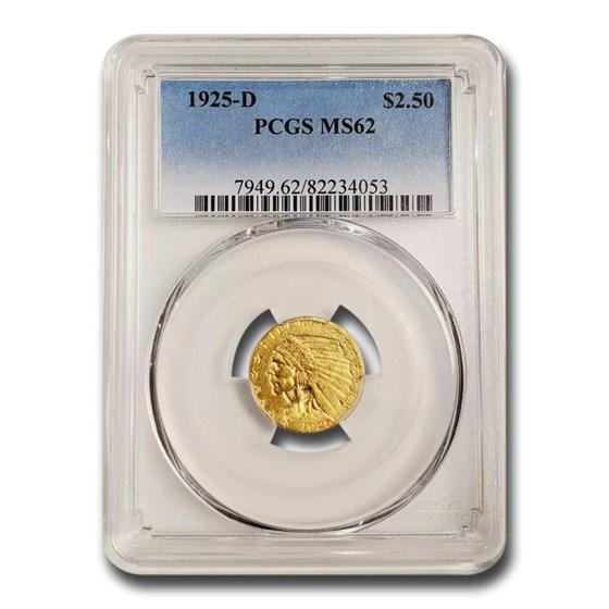 1925-D $2.50 Indian Gold Quarter Eagle MS-62 PCGS