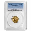 1925-D $2.50 Indian Gold Quarter Eagle MS-63 PCGS