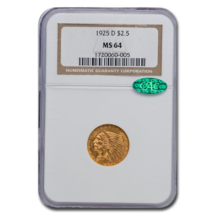 1925-D $2.50 Indian Gold Quarter Eagle MS-64 NGC CAC