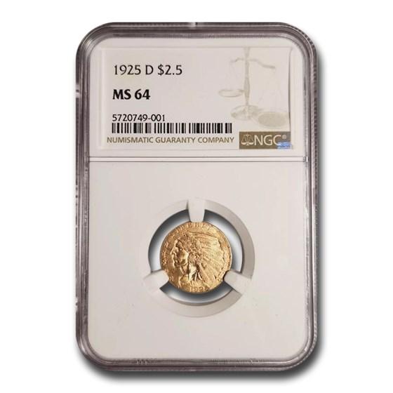 1925-D $2.50 Indian Gold Quarter Eagle MS-64 NGC