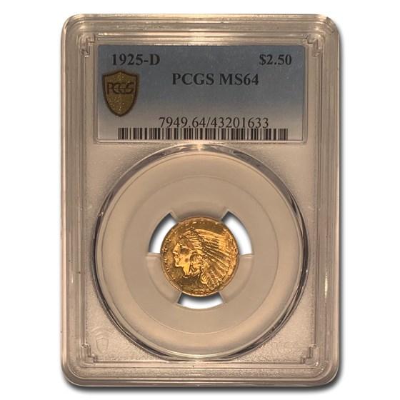1925-D $2.50 Indian Gold Quarter Eagle MS-64 PCGS