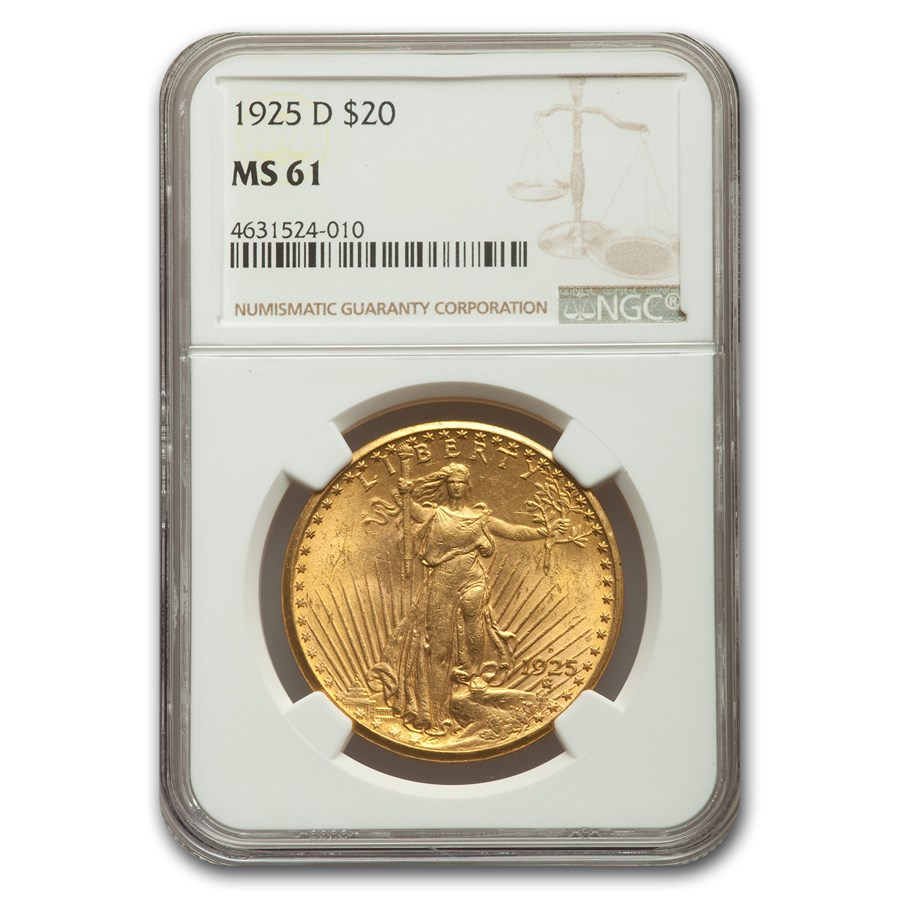 1925-D $20 Saint-Gaudens Gold Double Eagle MS-61 NGC