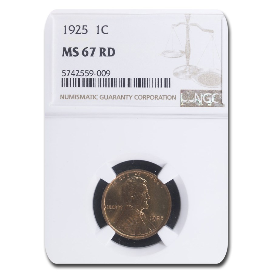 1925 Lincoln Cent MS-67 NGC (Red)