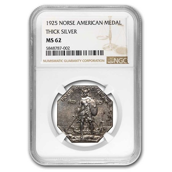 1925 Norse-American Centennial Medal MS-62 NGC (Thick)