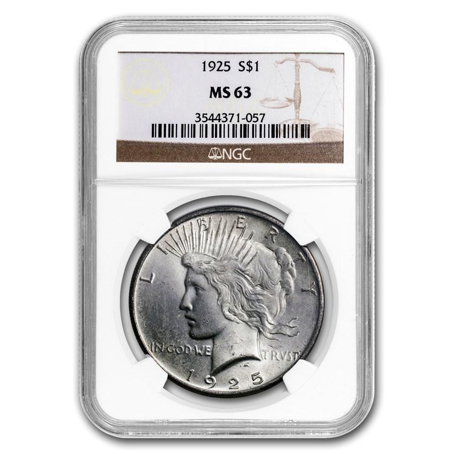 1925 Peace Dollar MS-63 NGC