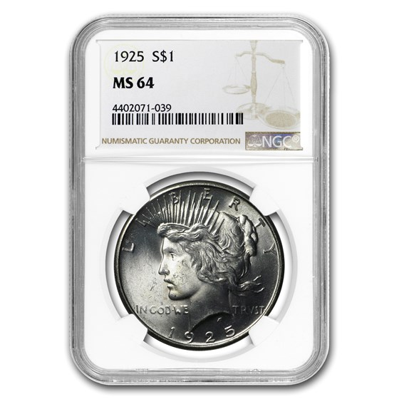1925 Peace Dollar MS-64 NGC