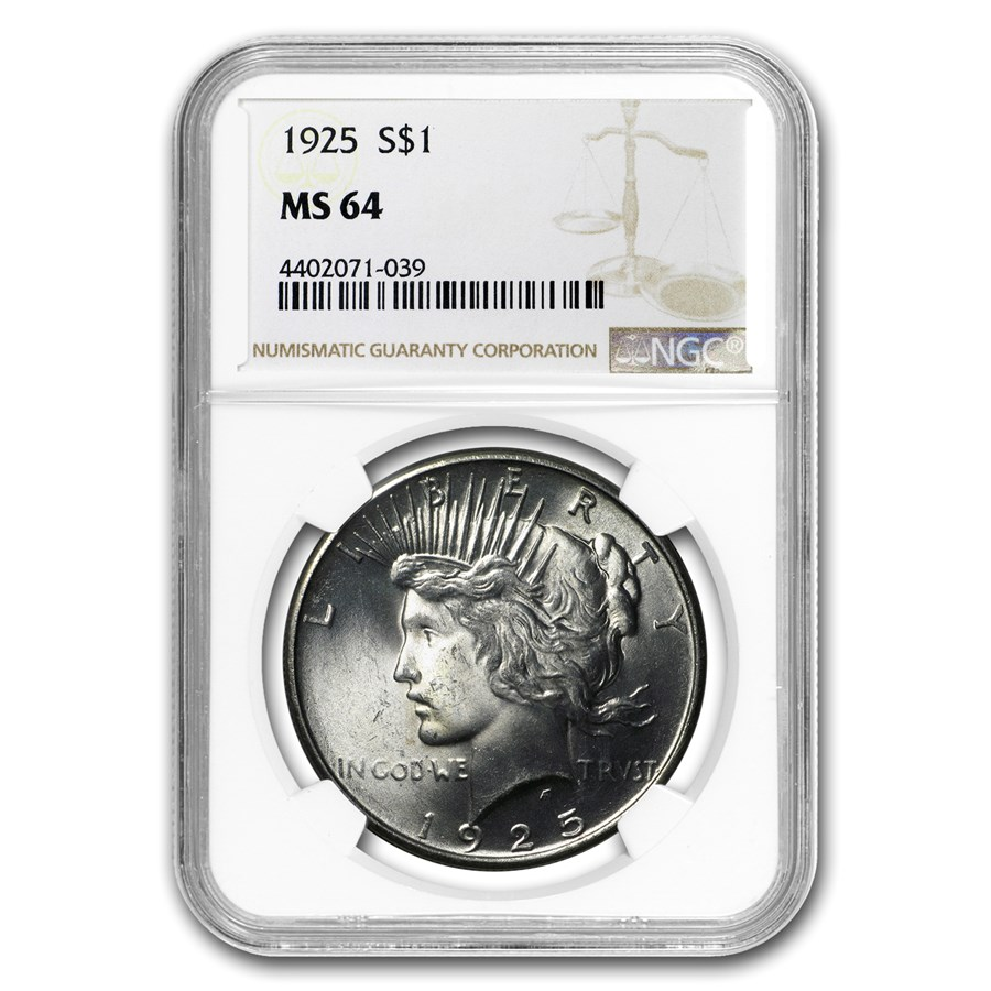 1925 Peace Dollar MS-64 NGC