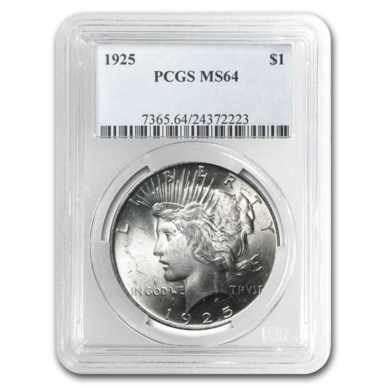 1925 Peace Dollar MS-64 PCGS