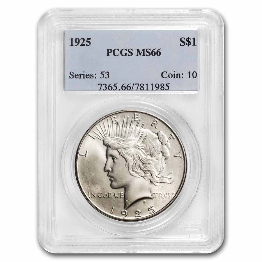 1925 Peace Dollar MS-66 PCGS
