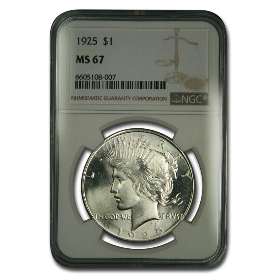 1925 Peace Dollar MS-67 NGC