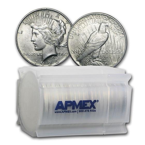 1925 Peace Silver Dollars AU (20-Coin Roll)