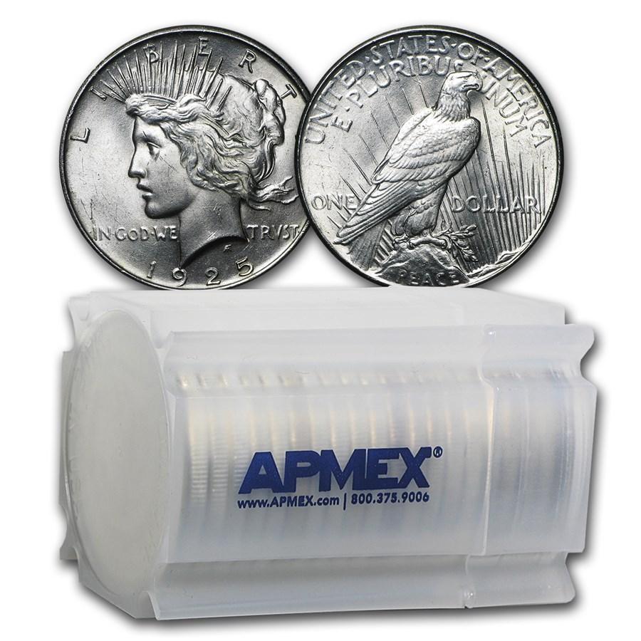 1925 Peace Silver Dollars BU (20-Coin Roll)
