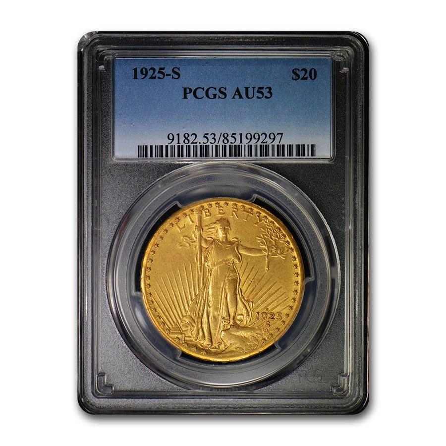 1925-S $20 Saint-Gaudens Gold Double Eagle AU-53 PCGS