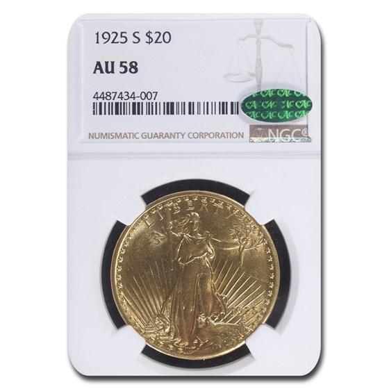 1925-S $20 Saint-Gaudens Gold Double Eagle AU-58 NGC CAC