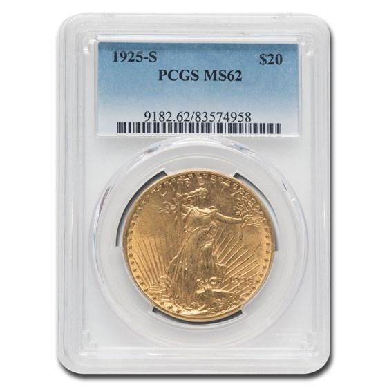 1925-S $20 Saint-Gaudens Gold Double Eagle MS-62 PCGS
