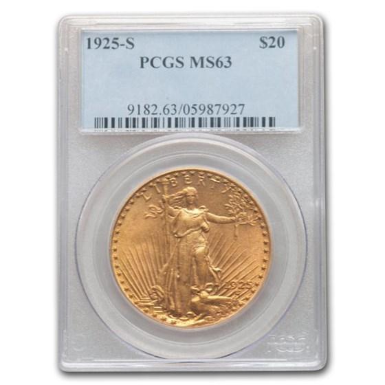 1925-S $20 Saint-Gaudens Gold Double Eagle MS-63 PCGS