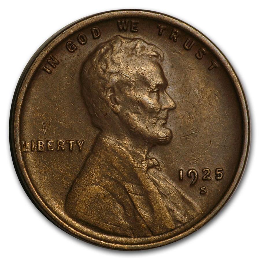 1925-S Lincoln Cent AU