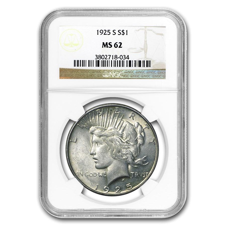 1925-S Peace Dollar MS-62 NGC
