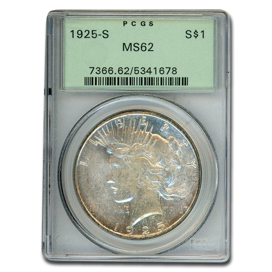 1925-S Peace Dollar MS-62 PCGS