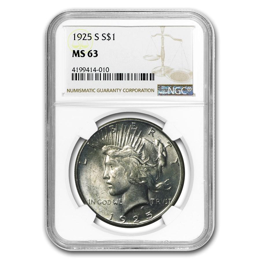 1925-S Peace Dollar MS-63 NGC