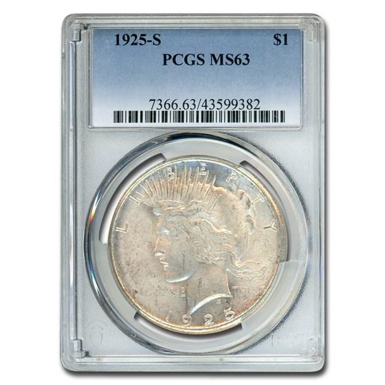 1925-S Peace Dollar MS-63 PCGS