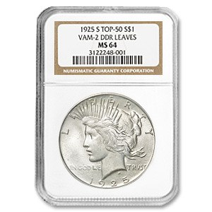 1925-S Peace Dollar MS-64 NGC (VAM-2, Doubled Leaves, Top-50)