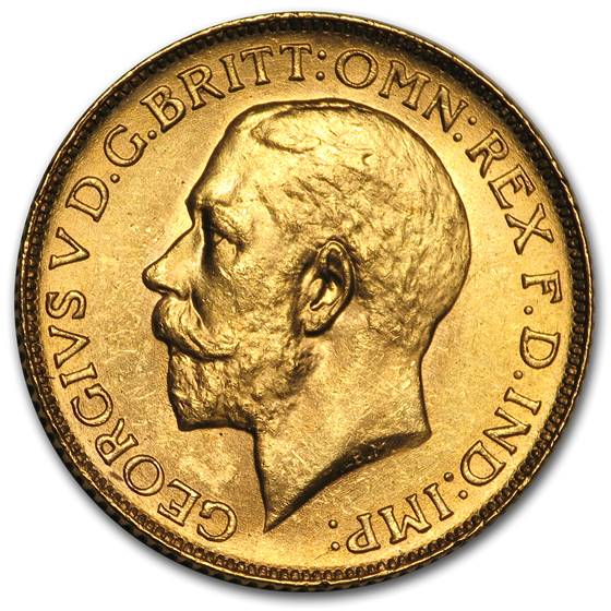 1925-SA South Africa Gold Sovereign George V BU (Large bust)