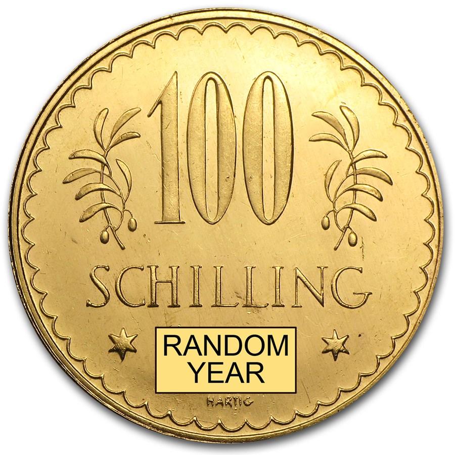 1926-1931 Austria Gold 100 Schilling Prooflike (Random)
