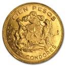 1926-1980 Chile Gold 100 Pesos (Random) AU