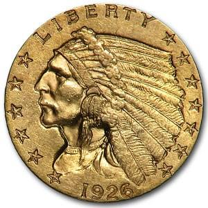 1926 $2.50 Indian Gold MS-62 Details (Obv scratch)