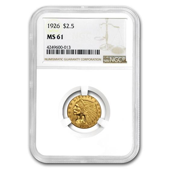1926 $2.50 Indian Gold Quarter Eagle MS-61 NGC