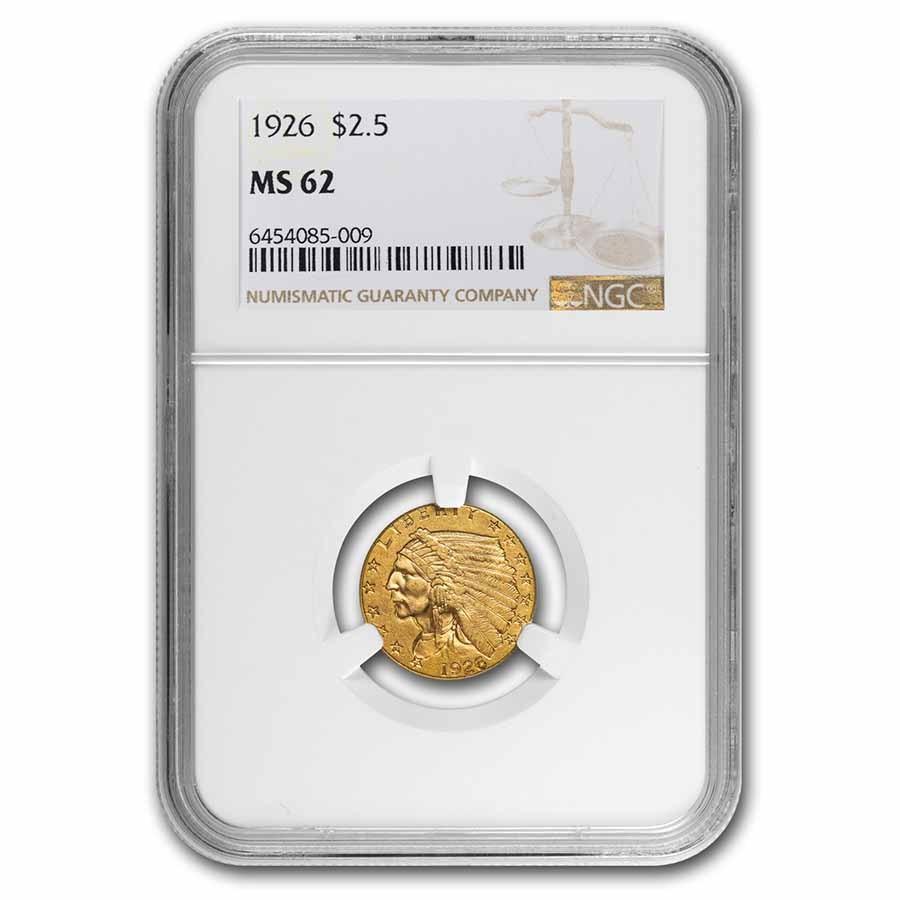 1926 $2.50 Indian Gold Quarter Eagle MS-62 NGC