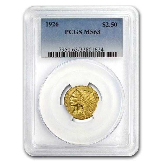 1926 $2.50 Indian Gold Quarter Eagle MS-63 PCGS